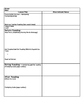 Small Group/Guided Reading Planning Template