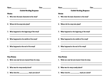 Small Group Guided Reading Responses - Fiction and NonFiction
