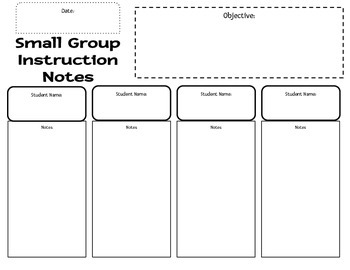 Small Group Instruction Data Collection Sheet
