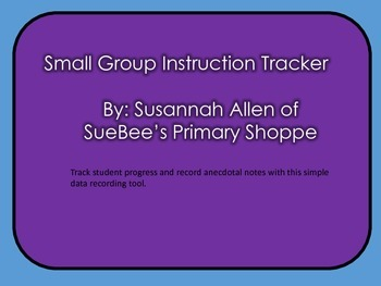 Small Group Instruction Tracker