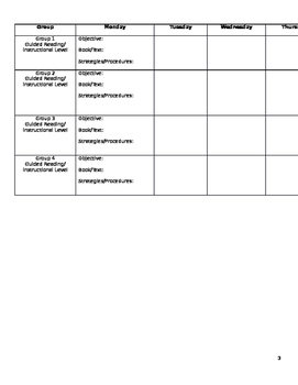Small Group Intervention Plan Templates