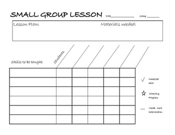 Small Group Lesson Documentation Sheet