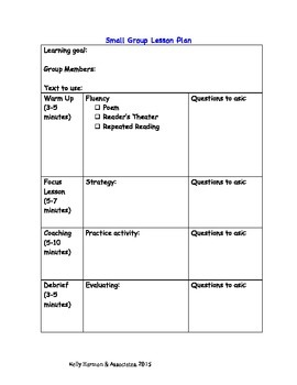 Small Group Lesson Plan Template Teaching Resources Teachers Pay - Small group reading lesson plan template