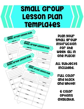 EDITABLE Small Group Lesson Plan Templates