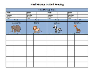Small Group List with schedule and notes area