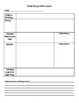 Small Group Math Lesson Template