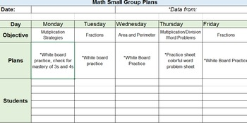Small Group Math Plans Template