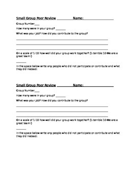 Small Group Peer Review SHeet