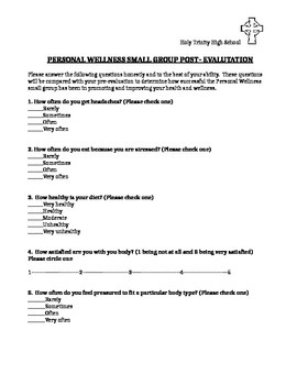 Small Group Personal Wellness Post-Evaluation