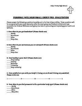 Small Group Personal Wellness Pre-Evaluation