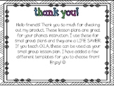 Small Group Phonics Lesson Plan Template