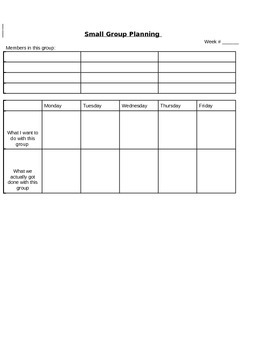 Small Group Planning Form