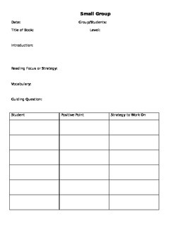 Small Group Planning Guide
