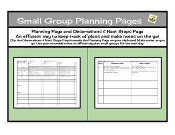 Small Group Planning Pages