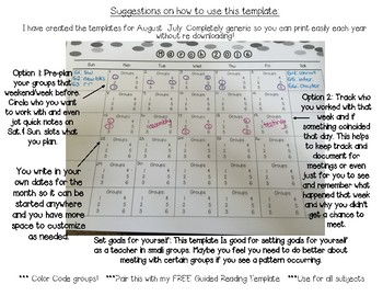 Small Group Planning Sheets August-July
