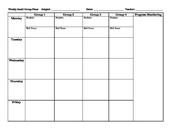 Small Group Planning Template
