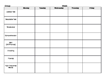 Small Group Planning Template-Reading