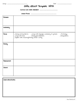 teachers college lesson plan template - small group rti special education lesson plan