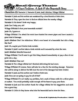 Small Group Readers Theater (Jack & the Beanstalk-Script + Activities)