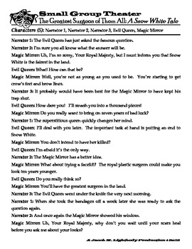 Small Group Readers Theater (Snow White-Script + Activities)