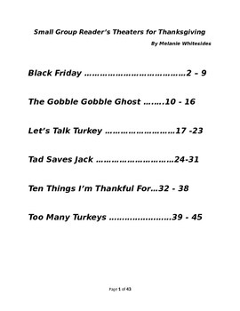 Small Group Reader's Theaters for Thanksgiving