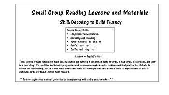 Small Group Reading Decoding Lesson and Materials