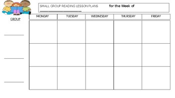 Small Group Reading Template for Lesson Plans