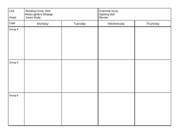 Small Group Reading and Math Teacher Planner