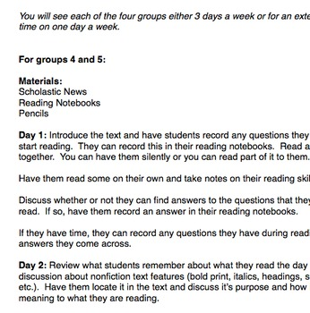 Small Group Reading template (Editable)