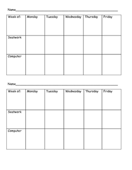 Small Group Recording Sheet
