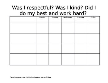Small Group Reward Chart