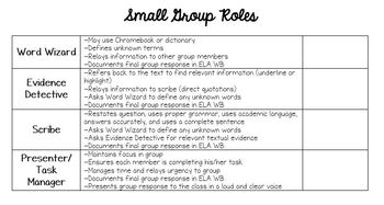 Small Group Roles for Short Reading Passages/Short Answer (Springboard ELA)