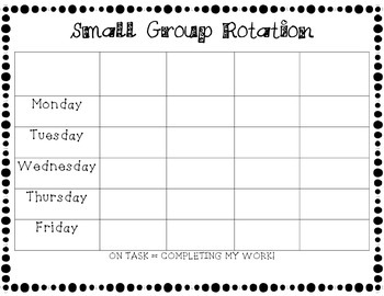 Small Group Rotation Chart *Write-In*