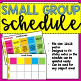 Small Group Schedule (Thinslicing Schedule)