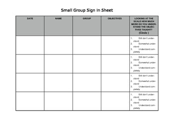 Small Group Sign In Sheet