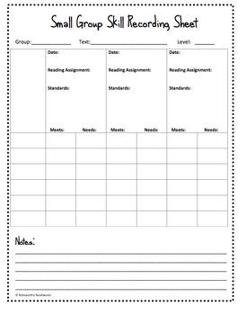 Small Group Skill Recording Sheet (Freebie)