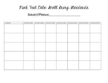 Small Group Standard Resource Tracking Sheet