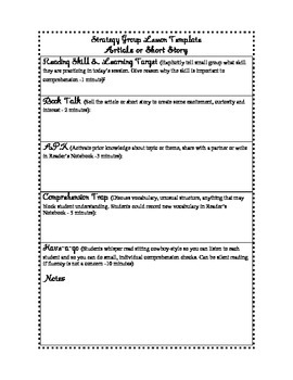 Small Group Strategy Instruction Template