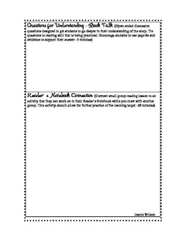Small Group Strategy Instruction Template - Novel