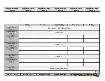 Small Group Template - Math and Reading