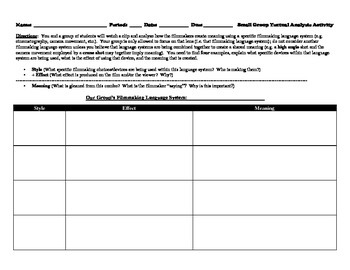 Small Group Textual Analysis Worksheet for a Scene in Any Movie