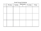 Small Group Times Schedule