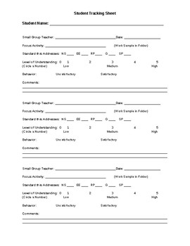 Small Group Tracking Sheet