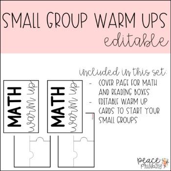 Small Group Warm Up:: Editable