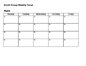 Small Group Weekly Planner