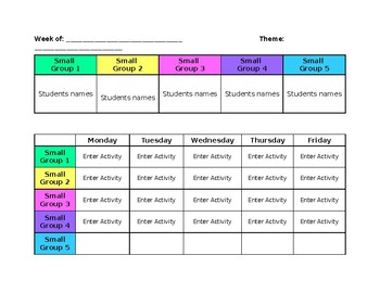 Small Group Weekly Planning Printable