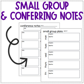 Small Group and Conferring Notes! Cover included!