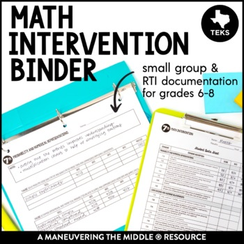 Small Group and Math Intervention Binder - TEKS