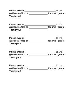 Small Group excuse form