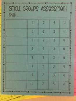 Small Groups Data Tracking Sheets